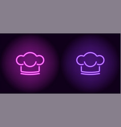 neon chef hat in purple and violet color vector image