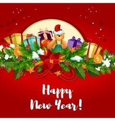 New Year poster with holly berry and gifts vector