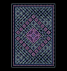 Oriental bluish carpet with colored ornament vector image