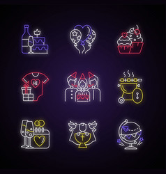 Party celebration neon light icons set vector