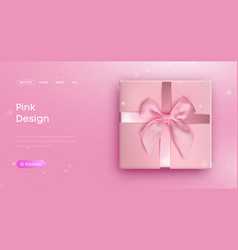 pink bow tie pink giftbox with ribbon bow vector image