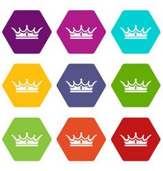 princess crown icons set 9 vector image
