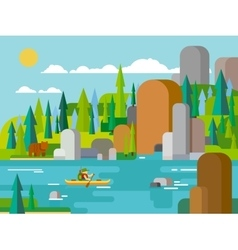 Rafting on river flat style vector image