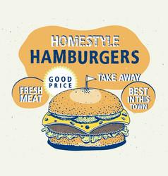 retro fast food hamburger poster hand drawn food vector image