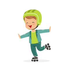 Roller skating boy kid in rollerblades colorful vector