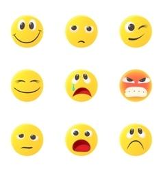 Round smileys icons set cartoon style vector