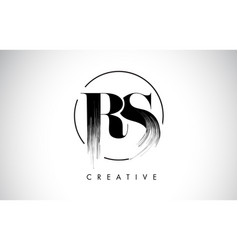rs brush stroke letter logo design black paint vector image