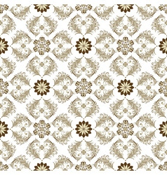 seamless brown and white floral pattern vector image