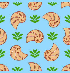 seashell and seaweed seamless pattern sea vector image