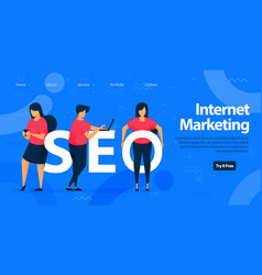 Seo for internet marketing landing page template vector