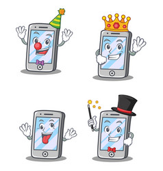 Set of iphone character with clown king crazy vector