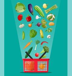 shopping basket full of vegetables vector image