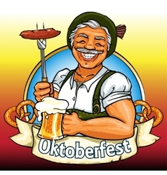 Smiling Bavarian man with beer and smoking sausage vector image