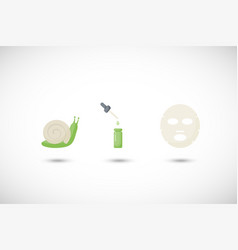 snail mucus facial mask flat icons set vector image
