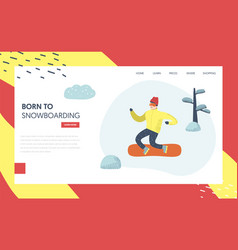 snowboard winter holidays landing page template vector image