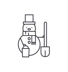 snowman line icon concept snowman linear vector image