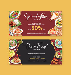 Thai food voucher design with pad green vector