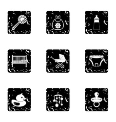 Things for baby icons set grunge style vector image