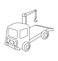 Tow truck icon in outline style isolated on white vector image