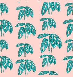tropical monstera leaves on pink background vector image