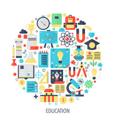 University school education flat infographics vector