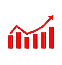 Up rising red arrow Statistic graphic vector image