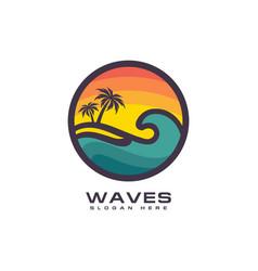 wave circle logo premium vector image