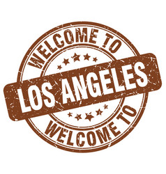 Welcome to los angeles brown round vintage stamp vector