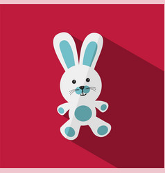 white and blue bunny with shade vector image