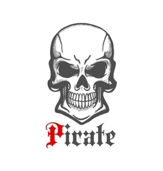 Wicked skull with crazy cheesy grin sketch vector image