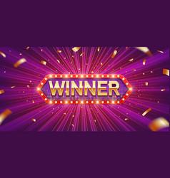 Winner retro banner vector
