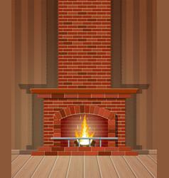 winter interior bonfire fireplace made bricks vector image
