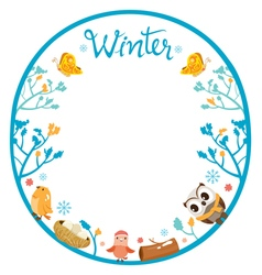 Winter Tree With Animal On Circle Frame vector image