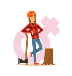 Woman lumberjack in workwear and hard hat standing vector