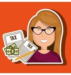 woman taxes bills pencil vector image