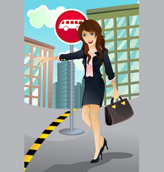 woman waiting for a bus vector image