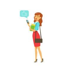 young elegant woman standing and sending a message vector image
