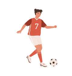 young female football player running up to kick vector image