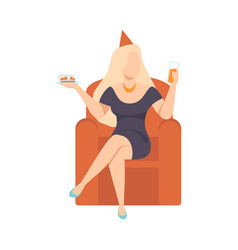 young woman in little black dress sitting with vector image