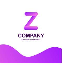 z company logo design with purple theme vector image