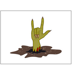 Zombie hand horns satan sign out of ground vector