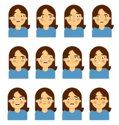Female face emotional icon on white background vector image vector image
