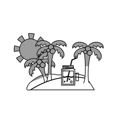Line palms with beverage in the island on vacation vector