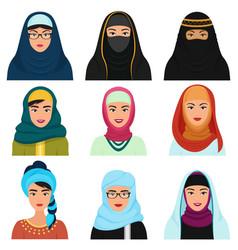 middle eastern female avatars set arabian muslim vector image vector image