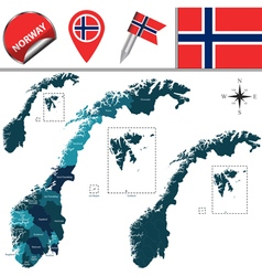 Norway map with named divisions vector