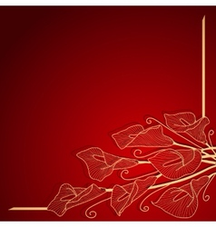Red invitation frame with gold flower vector image vector image