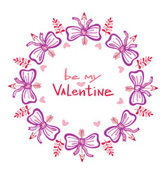 valentines day handwritten card with cute frame vector image vector image