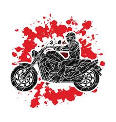 A man riding motorbike vector