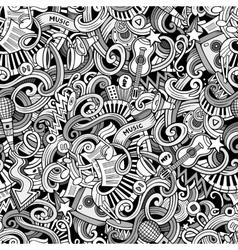 Cartoon hand-drawn doodles music seamless pattern vector image vector image