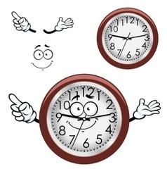 Cartoon wall clock with brown rim vector image